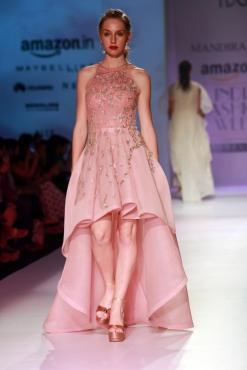 New Delhi: A model displays the creation of fashion designer Mandira Wirk during the Amazon India Fashion Week Spring/Summer 2017 in New Delhi on Oct 15, 2016. (Photo: Amlan Paliwal/IANS)